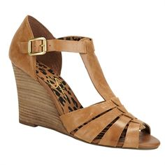 Jessica Simpson Rebi T-Strap Wedge Sandal #VonMaur #JessicaSimpson #Tan #Wedge #Strappy #Brown