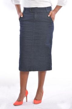 Knee-Length/Below Knee-Length Denim Skirt | The Essential Wardrobe ...