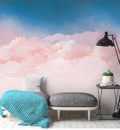 Cartoon Pink and Blue Sky Nursery Wallpaper, Creative Clouds Baby Girl's Room Nursery or Kid's Room Wall Murals Wall Decor - My best wallpaper list Cloud Wallpaper, Nursery Wallpaper, Interior Wallpaper, Kindergarten Wallpaper, Sky Nursery, Room Wall Painting, Bedroom Murals, Traditional Wallpaper, Blue Rooms