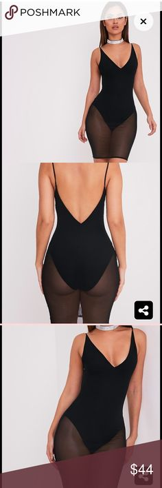 Black Mesh Overlay Bodycon Dress Black Mesh Overlay Bodycon Dress. US size 8. Dress falls above the knee. Great stretch. Dresses