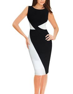 Senfloco Women's Elegant Colorblock Wear To Work Business Party Pencil Dress CN Small