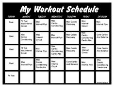 Insanity Workout Schedule  Print A Workout Calendar  Beauty