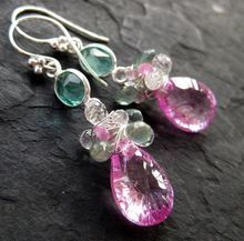 Pink sapphire earrings, white topaz, sea green quartz, sterling silver --Renee--