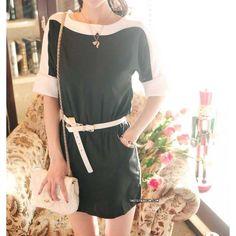 Retro batwing sleeves chiffon dress US$55    http://www.tastefashion.com/all-products/118-two-tones-retro-batwing-sleeves-chiffon-dress.html