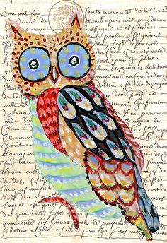 I like this idea of a colorful owl over printed words