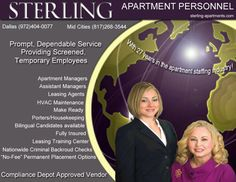Sterling Apartment Personnel Staffing Let our team find the perfect match for your Apartment Community staffing needs. Visit our web site or contact us via phone.