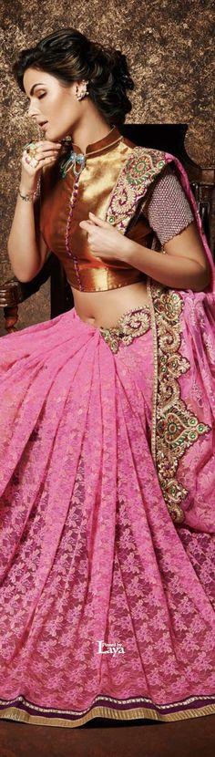 Pink and gold saree or sari with blouse. Blouse Back Neck Designs, Saree Blouse Designs, India Fashion, Ethnic Fashion, Asian Fashion, Pakistan Fashion, Indian Blouse, Indian Sarees, Indian Attire