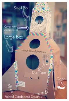 make a rocket out of a cardboard box - a fun activity for kids and when they're done, it makes the perfect play space, reading nook, or calm-down retreat!