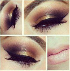 Gold and dark brown eye shadow