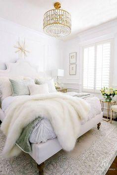 glam chandelier luxe bedroom white walls wainscoting -Glam Guest Bedroom M Luxury White Bedroom Furniture, White Wall Bedroom, Bedroom Furniture Sets, White Furniture, Bedroom Sets, White Walls, King Furniture, Furniture Ideas, Outdoor Furniture