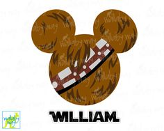 Chewbacca Mickey Head Star Wars Disney Printable Iron On Transfer or Use as Clip Art - DIY Disney Shirt Mickey Ears Star Wars Weekend Chewie by TheWallabyWay on Etsy