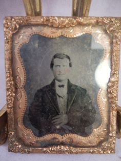 "1860s Tin Type Photograph Daguerreotype Man Copper Frame w/ Glass 2 1/8"" x2 5/8""  $14.99"