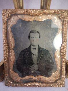 "1860s Tin Type Photograph Daguerreotype Man Copper Frame w/ Glass 2 1/8"" x2 5/8""  $14.99"