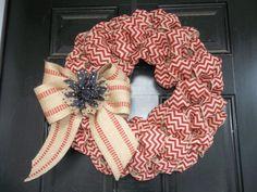 "New 18"" Brick Red Chevron Burlap Wreath/webbing bow and burlap flower"