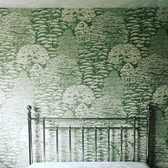 More decorating taking place at home today - This is a Sanderson paper called Woodland Toile for our guest bedroom. So calm and peaceful.
