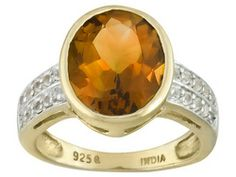 Stratify (Tm) Madeira Citrine 3.20ct, .40ctw White Topaz 18k Yellow Gold Over Sterling Silver Ring