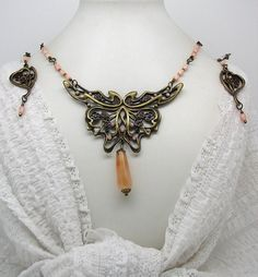 SET  4 - secession set necklace butterfly + earrings by ClassOfGlass on Etsy