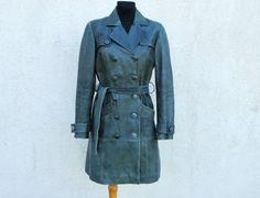 Vintage vert en cuir véritable Trench Coat Double Breasted ceinturée Womens Double Breasted Trench-Coat doublure classique Goth gothique taille m