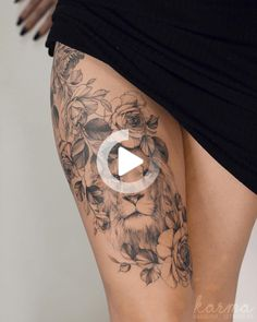 50 eye-catching tattoos lions that makes you want ink: tattoo beautiful ideas for girls © Lions - 50 tattoos striking lions that makes you want ink: beautiful ideas for tattoos lions for girls © a - Tattoo Girls, Girl Leg Tattoos, Hand Tattoos For Women, Tattoos Skull, Animal Tattoos, Sexy Tattoos, Flower Leg Tattoos, Floral Thigh Tattoos, Thigh Tattoo Designs