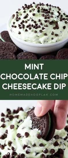 Mint Chocolate Chip Cheesecake Dip! Get your peppermint fix with this ultra-creamy mint chocolate chip dip that's laced with mini chocolate chips and served with mint Oreo cookies for dipping. | HomemadeHooplah.com