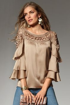Absolutely love this taupe top! Boston Proper Salsa shirt in mushroom Unique Clothes For Women, Designs For Dresses, Boston Proper, Beautiful Blouses, Blouse Designs, Passion For Fashion, Blouses For Women, Fashion Dresses, Fashion Design