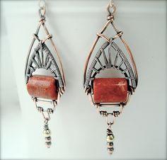Art Deco Earrings Statement Earrings Red by Weaversfield on Etsy