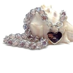 Pink Amethyst Captive Beads Chainmail Choker Front Closing Heart Lock | BrainofJen - Jewelry on ArtFire