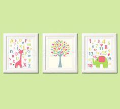 Colorful Alphabet Nursery Art Print Set Kids Room by SugarInspire, $39.95