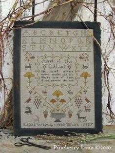 The Rising Harvest Primitive Sampler Cross Stitch | Pineberry Lane