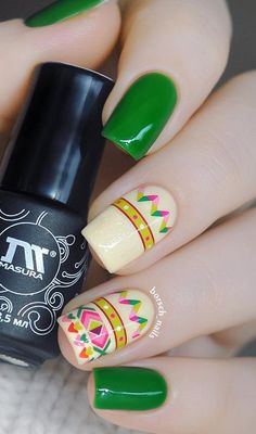 Contemporary Tribal Nails. Tribal nails are so In with different colors   and different patterns. This one is a mix of tribal and geometric nail   art. So if you like the contemporary tribal nails, this one is   definitely made for you.