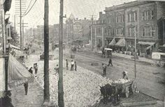 Nashville Tennessee View of Lower Broad with Merchants Hotel in the distance Circa: 1890-1910