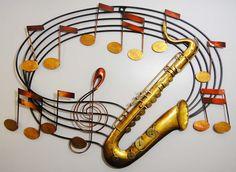 Metal Wall Art - Saxophone Music Scroll