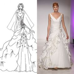 """Brides.com: . Alfred Angelo. This Alfred Angelo gown defines the rest of the collection, which pays tribute to legendary supper clubs and iconic Big Band singers: Peggy Lee, Doris Day, Rosemary Clooney, and Dinah Shore. """"It's a fresh take on showing off the female form and highlighting brides' assets through draping [and] mixing fabrics, as well as featuring a contemporary and romantic new billowing skirt shape,"""" says the designer. """"It's an unexpected remix of tradition. It's feminine, yet…"""