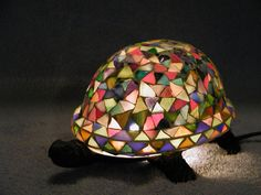 Turtle Lamp  Cast Iron  Mosaic Stained Glass by SandECollectibles