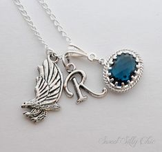 Ravenclaw Inspired Short Necklace, Harry Potter Hogwarts Ravenclaw Necklace, Harry Potter Jewelry Gift, Eagle Sapphire Necklace