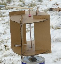 Goal: build a Savonius wind turbine made out of cardboard to see whatworks. This is for the turbine only and not the generator itself. The main photo you see is the goal.The need for a working model grew out of frustration trying tojury-rig various designs of a Savonius turbine that in the end wouldnot turn at all in the wind. Some Initial Botched Designs Shown below are several botched designs. All four are attached to the drive shaft of a 24-volt DC battery-operated lawn mower. The…