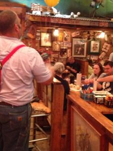 Throwing Roll's at Lamberts - this guy chucked them clear across the room - Lambert's Cafe, Sikeston, Missouri