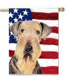 Airedale USA Patriotic Flag Large Canvas House Flag 28x40 Inches by CTI. $39.99. House flag is made from a 100% polyester heavy weight canvas material. Not your typical house flag that you might find from a mass merchant.  This flag is much heavier than most flags currently being sold by other manufacturers. This flag is fade resistant and weather proof. The flag measures approximately 28 inches x 40 inches (wooden flag pole, hanging bracket or yard stand sold seperaletly)