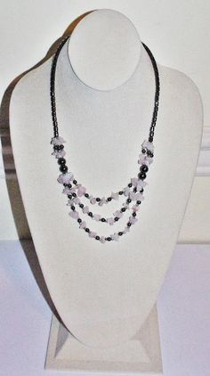 aebd5cc6077d Pink and Black Gemstone Necklace Rose Quartz by SCLadyDiJewelry