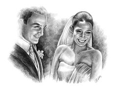Pencil Sketch Art From a Photo - Examples with bride and groom - very popular as a wedding gift and anniversary gift http://www.giveamasterpiece.com/eshop/10expand-pencilsketch.asp