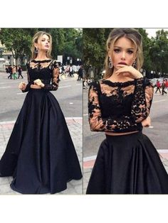 Black A Line Lace Applique With Sleeves Two Piece Long Prom Dress 2017
