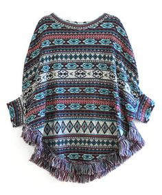 Love this Teal Geometric Poncho - Women on #zulily! #zulilyfinds