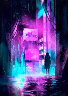 Neon Rain Art Print by zandraart Cyberpunk City, Cyberpunk Kunst, Cyberpunk Aesthetic, Neon Aesthetic, Futuristic City, Design Blog, Tabby Kittens For Sale, Neon Noir, Rain Art