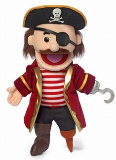 This 14 inch glove style pirate puppet has a movable mouth and hands! Perfect puppet for any pirate related puppet show, skit, or just simply for fun.