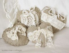 These simple little hearts are wonderful for Valentine's and all year round! Love them! From Katies Rose Cottage: Burlap Hearts ... Vintage Embellished