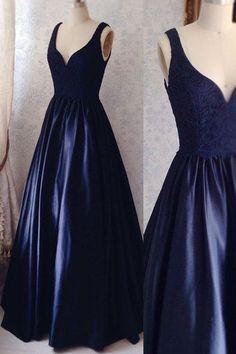 V Neck Off the Shoulder Dark Blue Lace Prom Dresses Evening Gowns Graduation Dress LD312