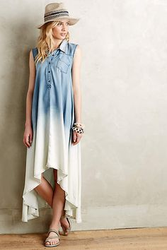 Dipped Chambray Shirtdress - anthropologie.com
