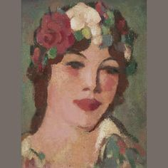 Head with White Rose   signed and inscribed 'J.D. Fergusson/2.F' (verso), further inscribed '29. Head with white rose' (on label attached verso)  oil on board  24.25 x 19 cm. (9 9/16 x 7 1/2in.)