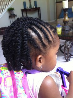 Cornrows ending in two strand twist Natural hairstyles for kids