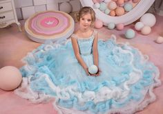 Light Blue and Ivory Tulle Flower Girl Dress  Holiday